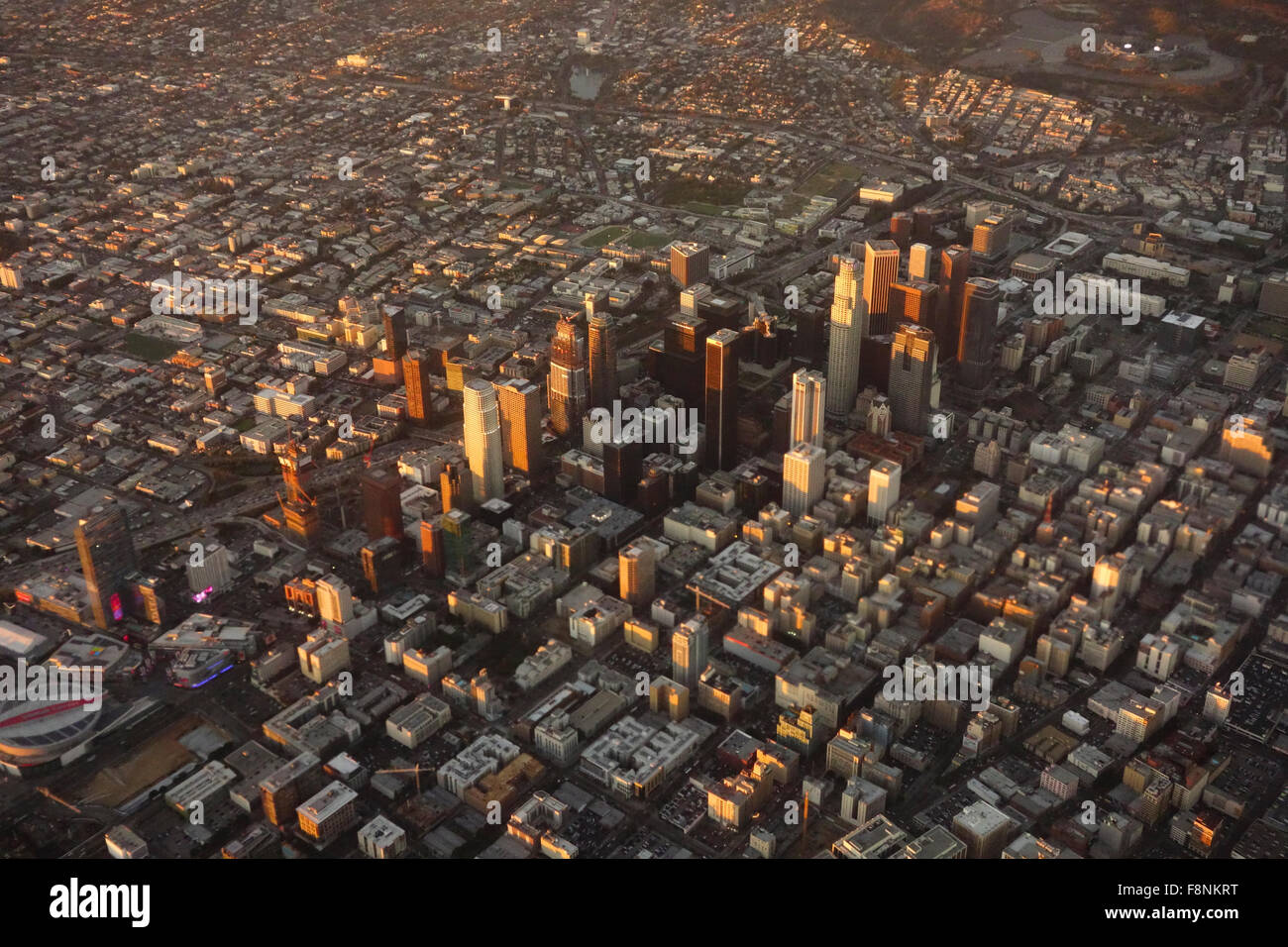 urban sprawl of city downtown Los Angeles from the air Southern California USA - Stock Image