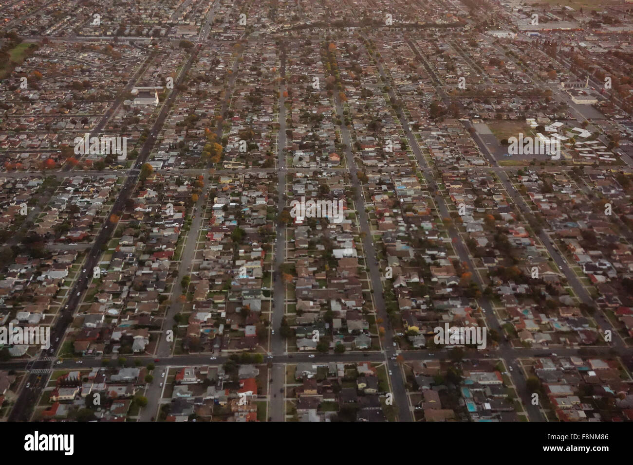 urban sprawl of city Los Angeles from the air Southern California USA - Stock Image