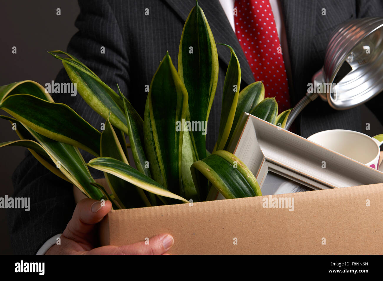 Redundant Businessman With Possessions In Box - Stock Image
