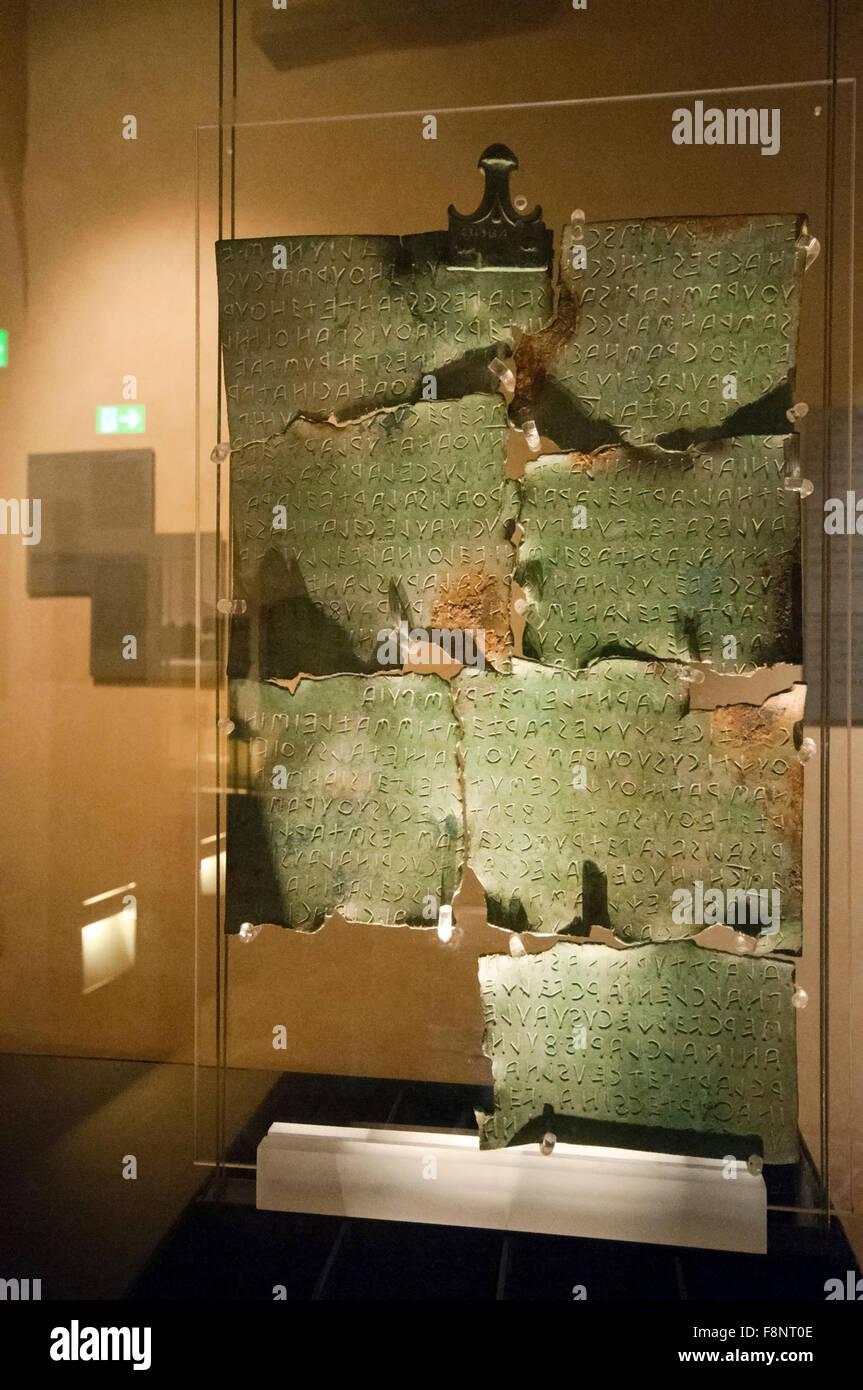 Tabula Cortonensis (second century BC), MAEC museum in Cortona (Palazzo Casali), Tuscany, Italy - Stock Image