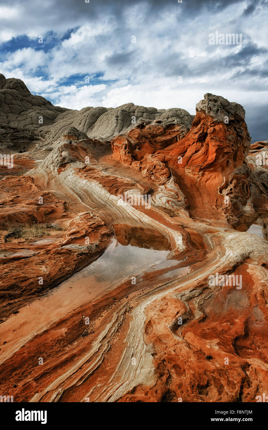 Thunderstorms build over the beauty of twisted sandstone formations at White Pocket in Arizona's remote Vermilion - Stock Image