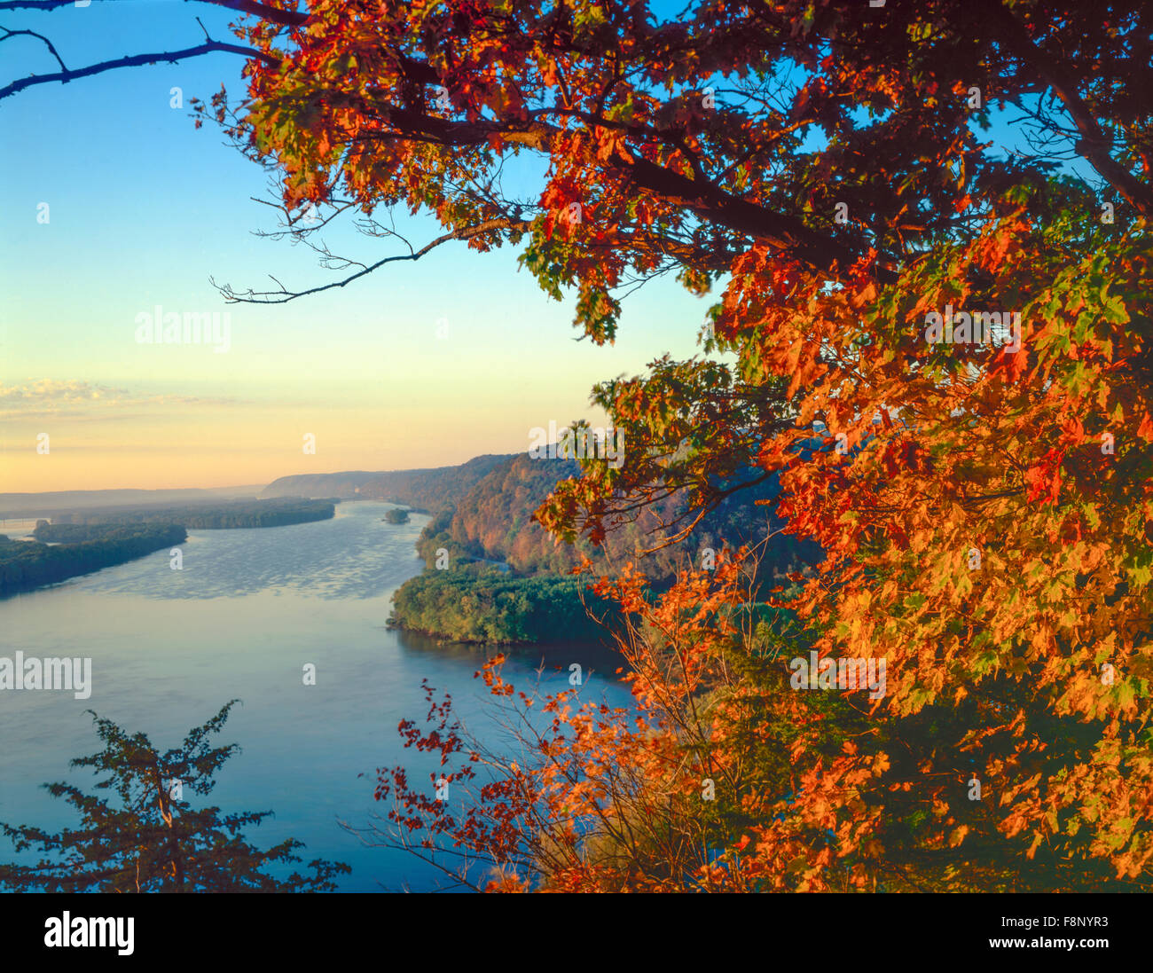 Mississippi River at dawn, Effigy MOunds National MOnumnet, Iowa Fire Point View, Wisconsin on left - Stock Image