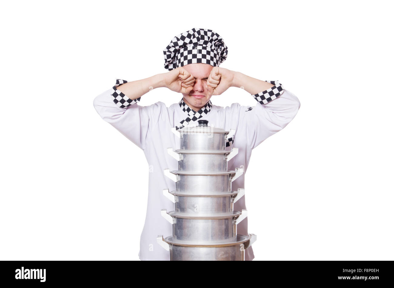 Funny male cook isolated on white - Stock Image