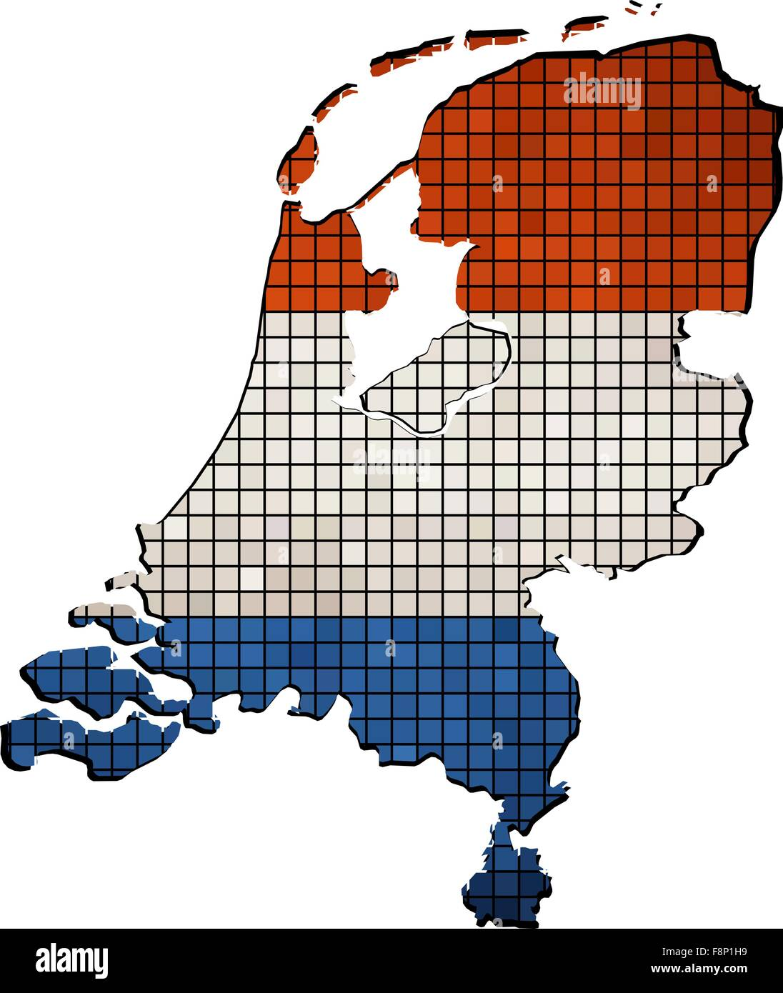 Netherlands map with flag inside - Stock Vector