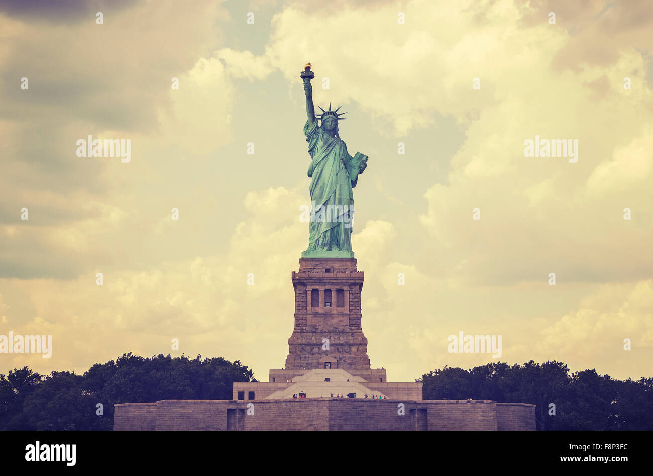 Vintage toned Statue of Liberty, NYC, USA. - Stock Image