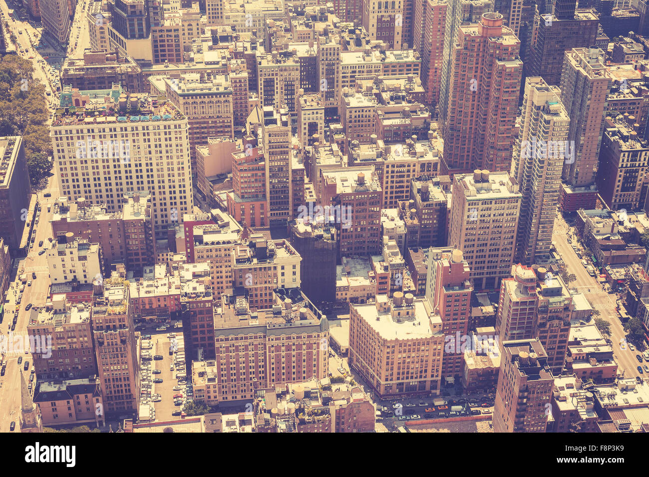 Vintage stylized aerial picture of Manhattan, New York, USA - Stock Image