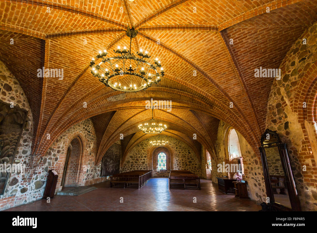 brick fan vaulted veiling interior of trakai castle and chandelier lake galve trakai an historic city and lake resort in lithuania eastern europe
