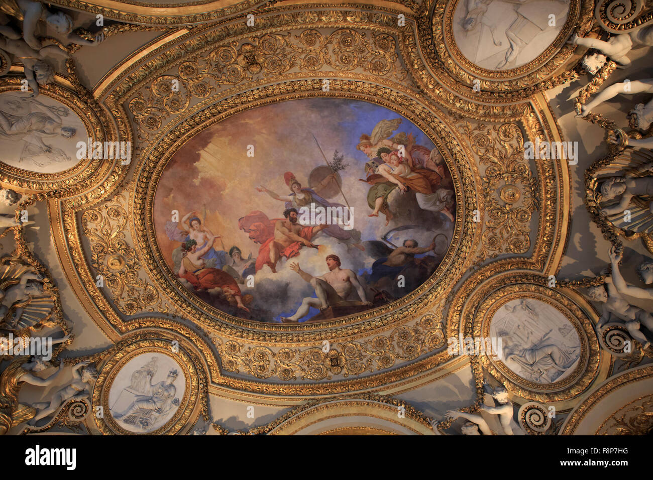 beautiful painted ceilings in the louvre museum paris france stock photo 91458012 alamy. Black Bedroom Furniture Sets. Home Design Ideas