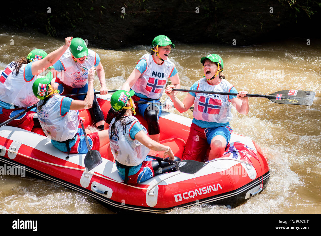Norway master women team celebrate their victory in head to head sprint race category during 2015 World Rafting - Stock Image