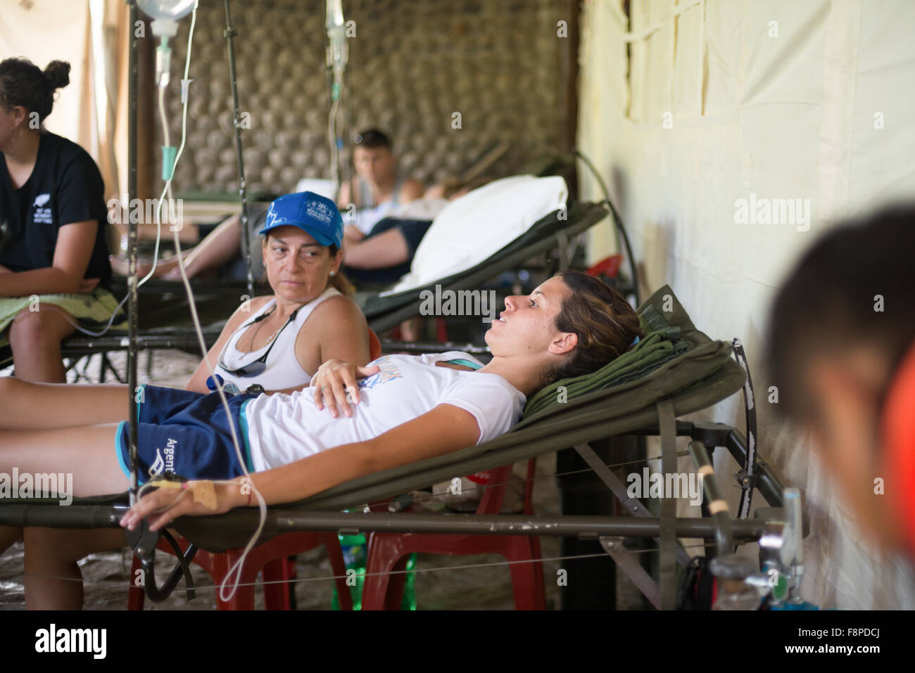 Member of Argentinean U19 women team receive medical treatment after down river race category during the 2015 World - Stock Image