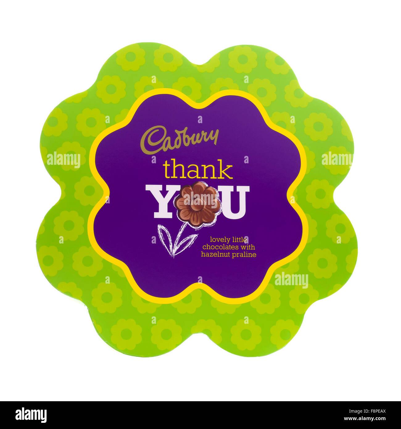Cadbury Thank You Lovely Little Chocolates With Hazelnut Praline on a White Background - Stock Image