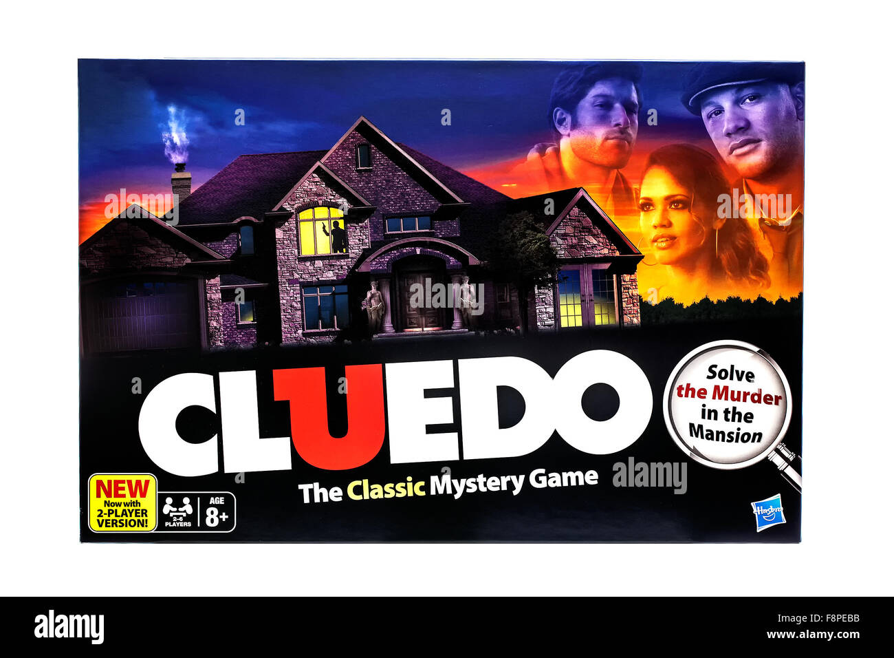 Cluedo Classic murder mystery game for three to six players on a White background - Stock Image