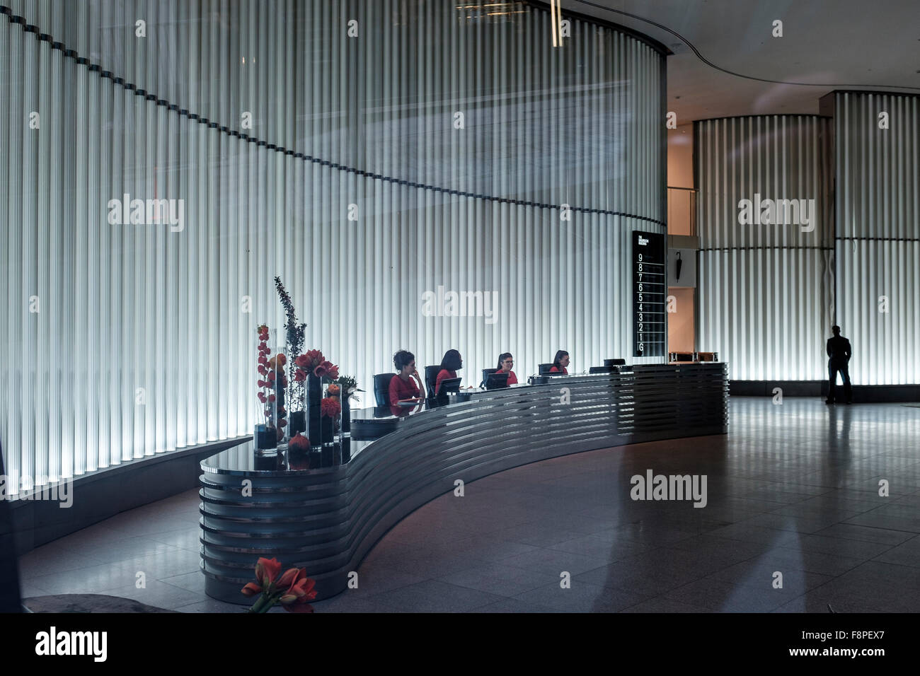 Reception desk  in multinational,finance company,The Walbrook building,City of London,England - Stock Image