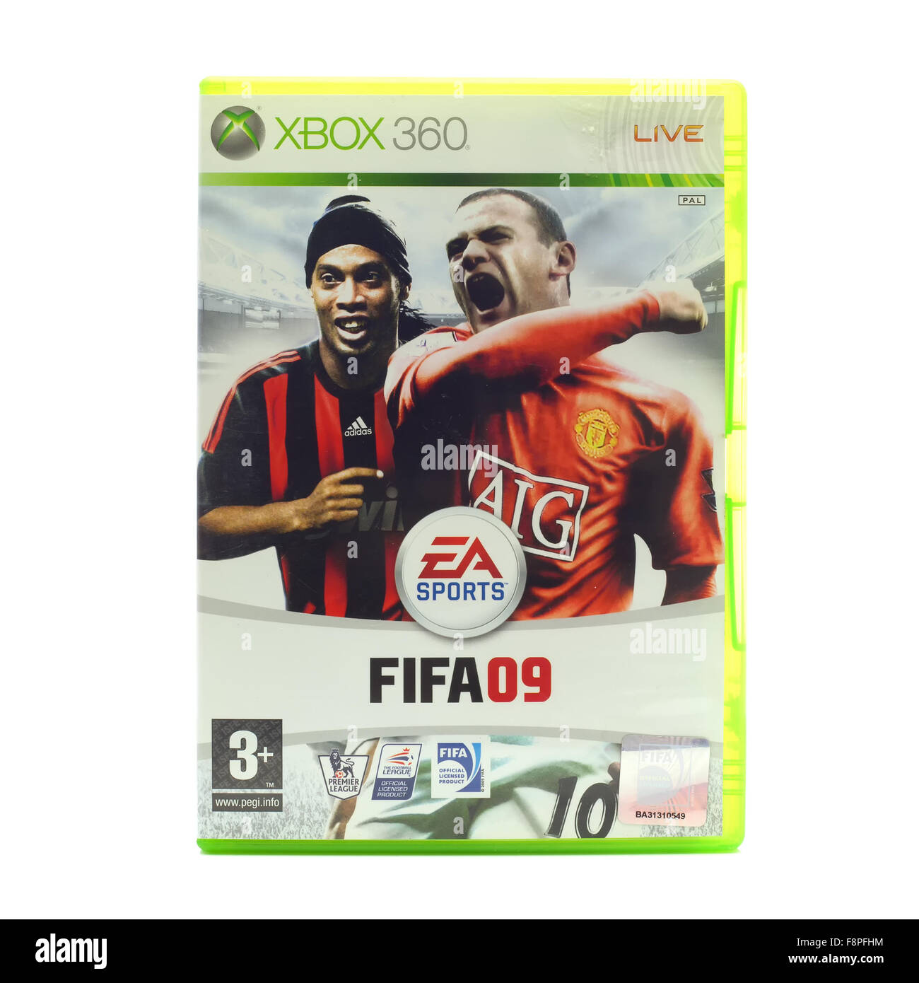 FIFA 2009 by EA Sports for the XBox console on a White Background - Stock Image