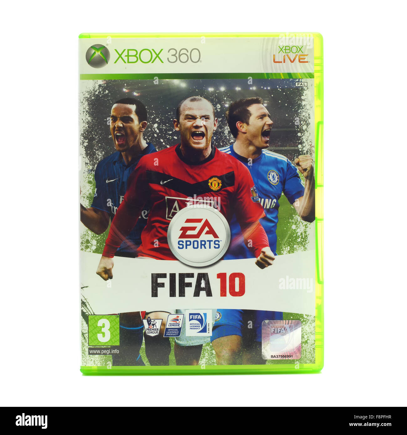 FIFA 2010 by EA Sports for the XBox console on a White Background - Stock Image