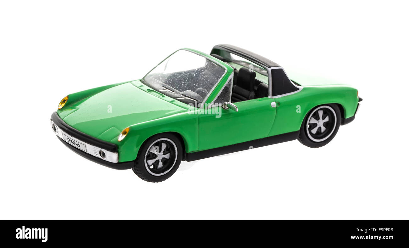 Old Scale Model  Porsche 914 Cabriolet on a white background - Stock Image