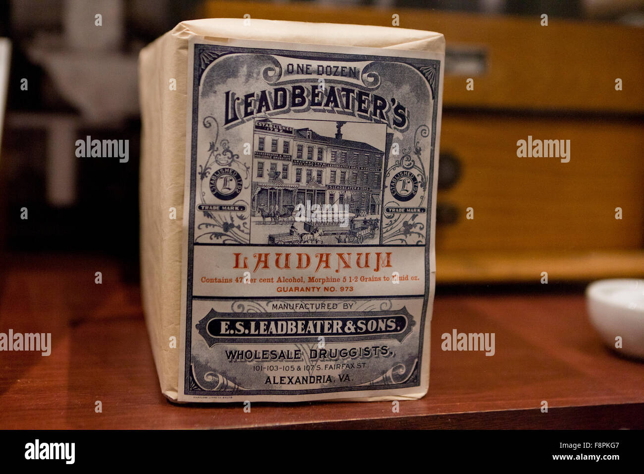 Leadbeater's Laudanum package, painkiller marketed in the US, late 1800s to early 1900s - USA - Stock Image
