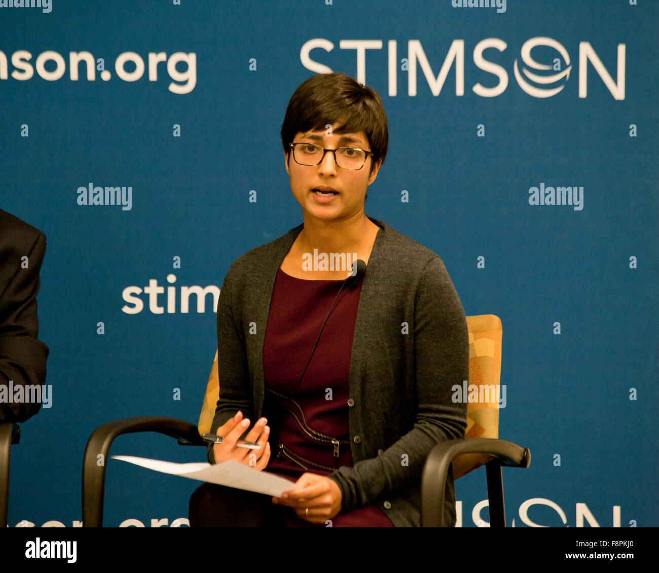 Aditi Gorur speaking on Humanitarian Crises in the Middle East and Africa at Stimson Center - Washington, DC USA - Stock Image