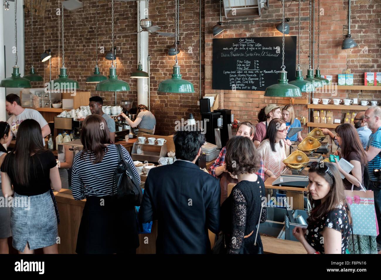 Busy artisan coffee shop,London,England - Stock Image
