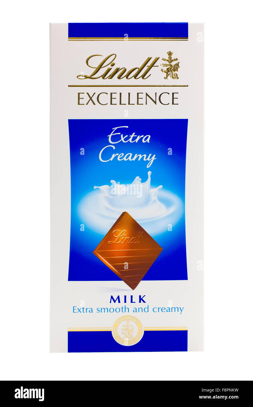 Bar Of Lindt Excellence Extra Creamy Milk Chocolate on a White Background - Stock Image