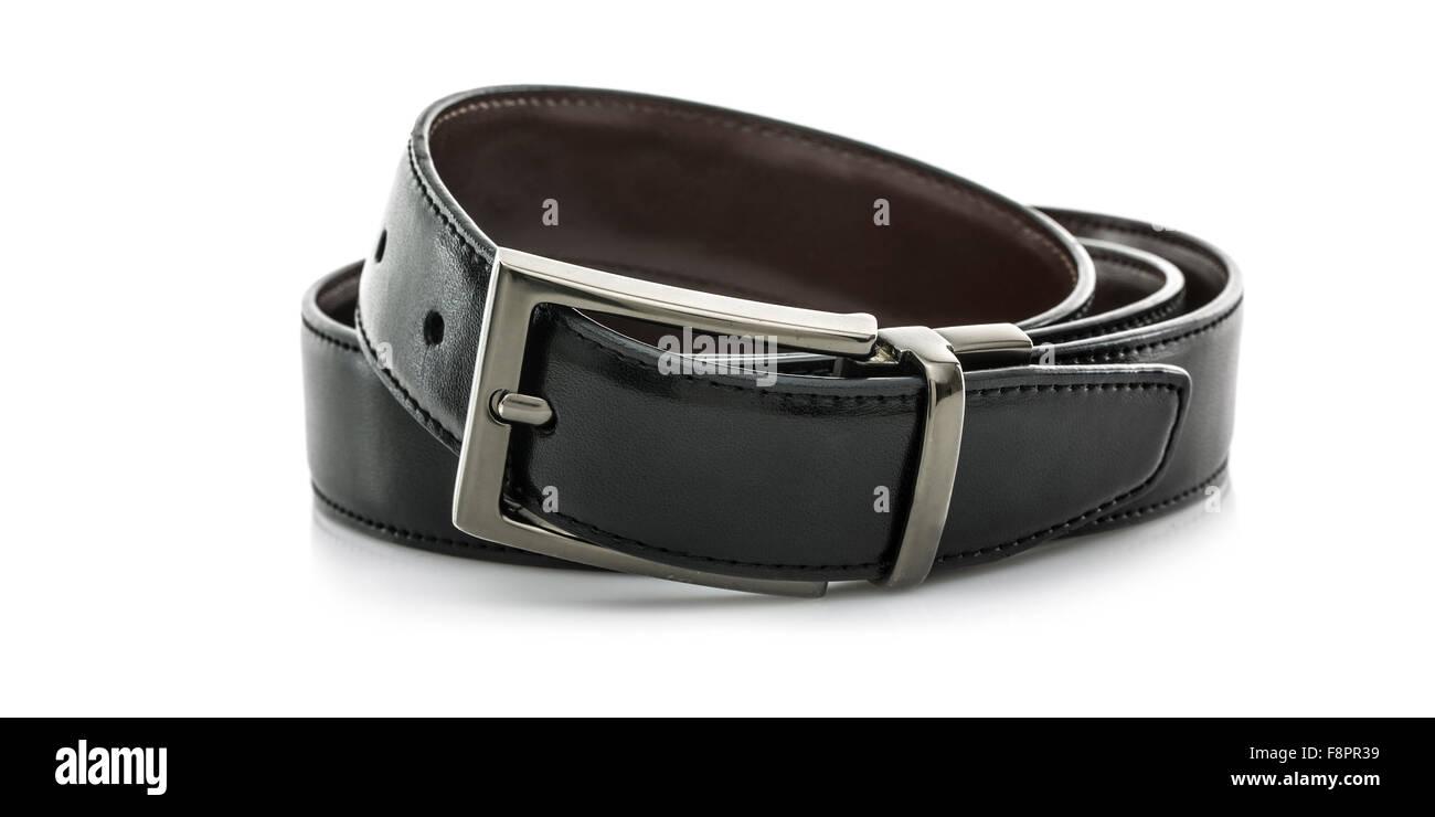 Black Leather Belt isolated on white background - Stock Image