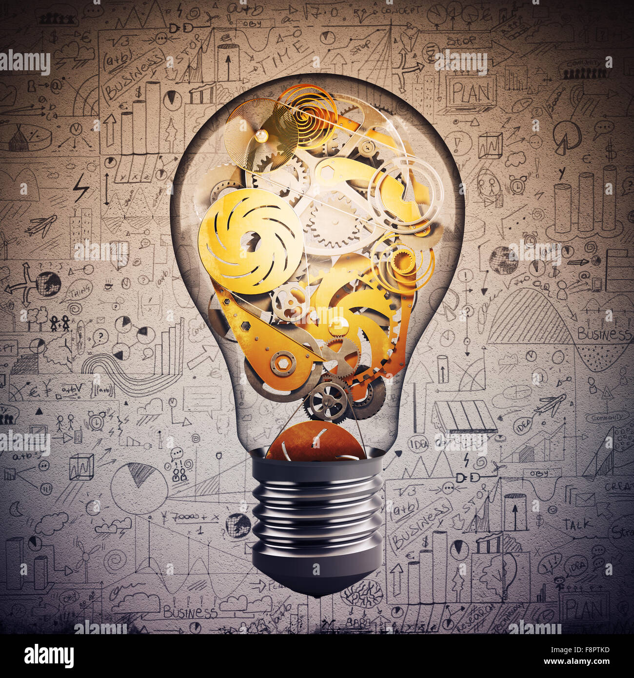 Gear in the lightbulb - Stock Image