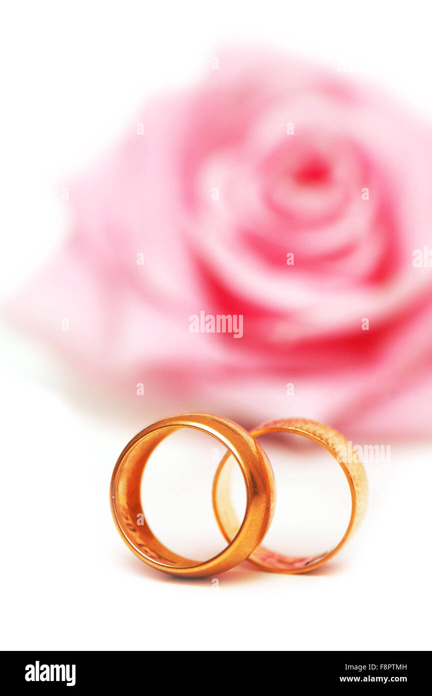 Two wedding rings and pink rose at the background Stock Photo ...