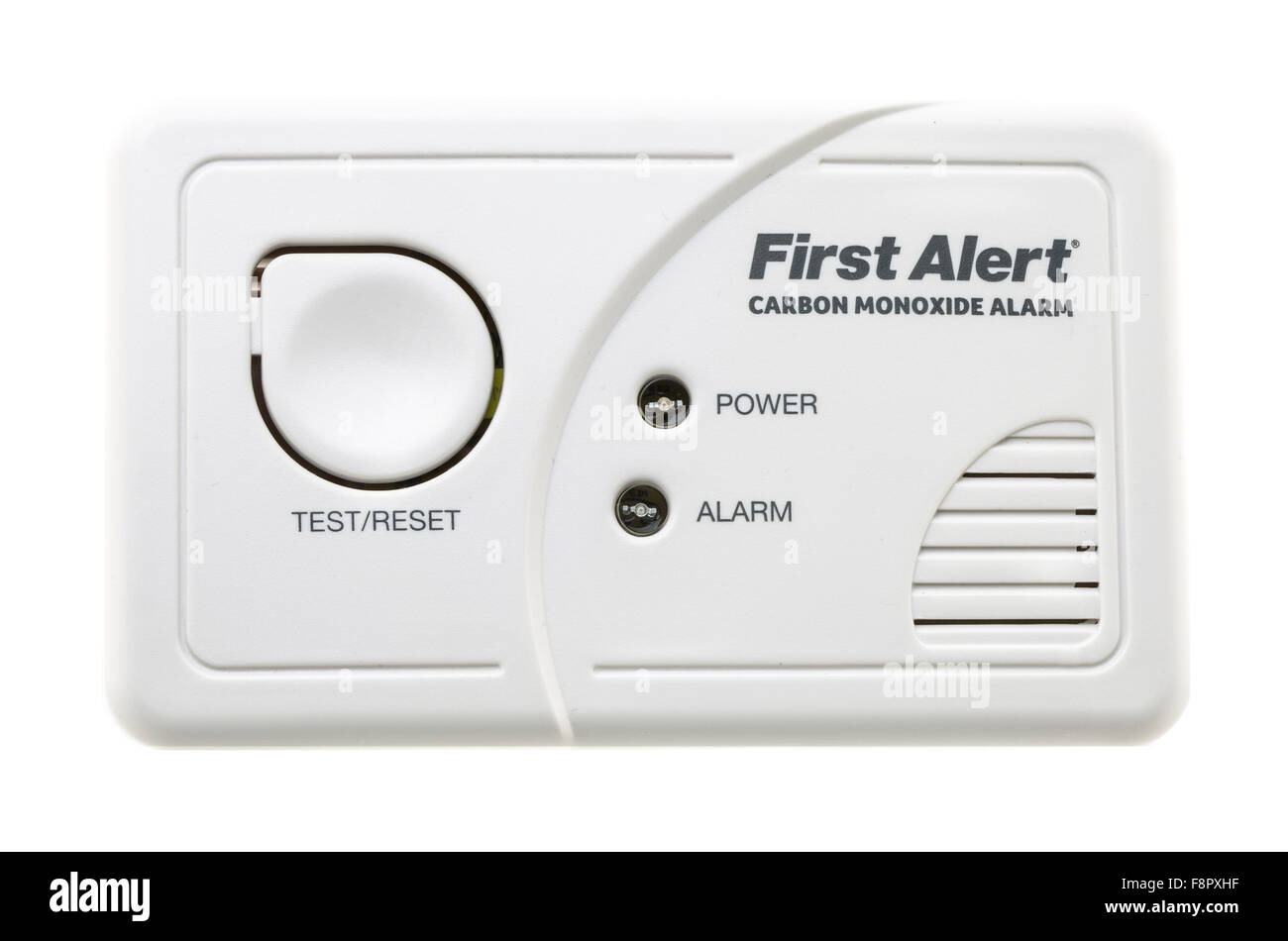 First Alert CO Carbon Monoxide Alarm on a White Background - Stock Image