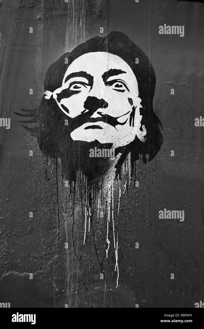 Bristol Salvador Dali Graffiti - Stock Image