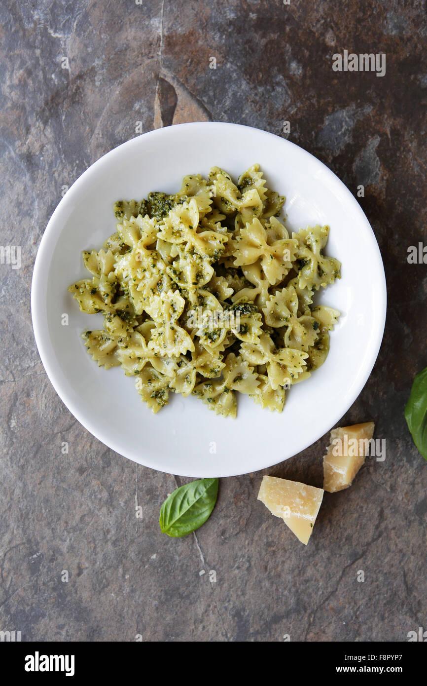 pasta with pesto top view - Stock Image
