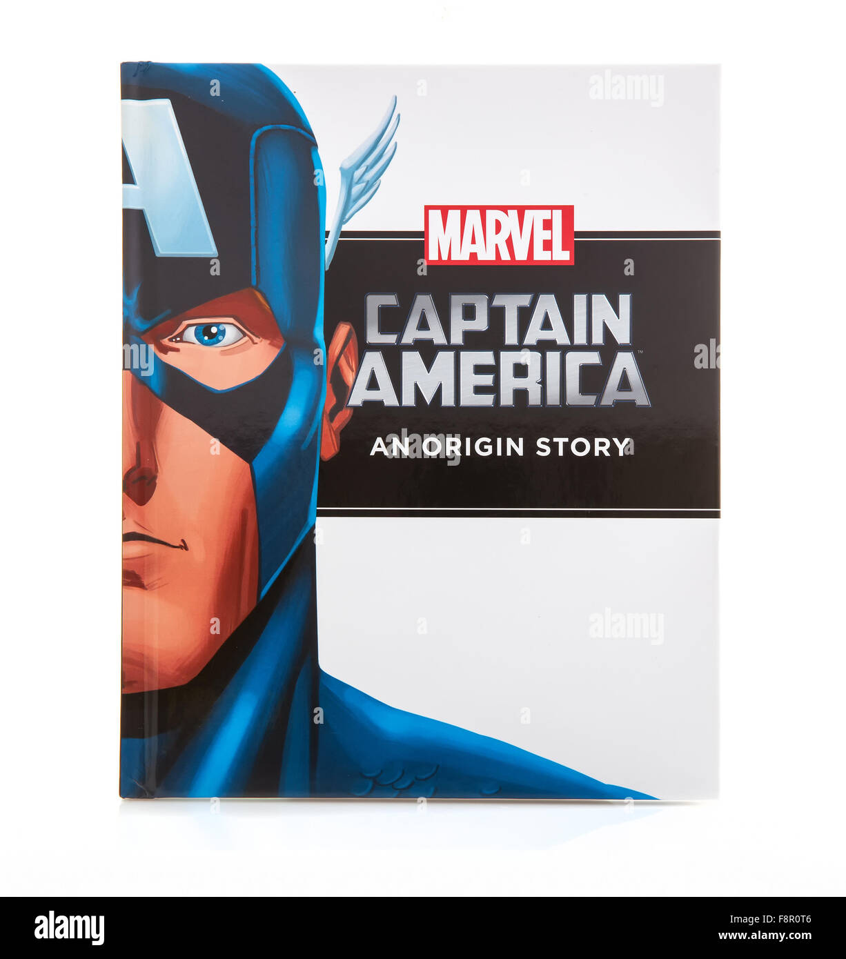 MARVEL Book Captain America an Origin Story on a White background - Stock Image