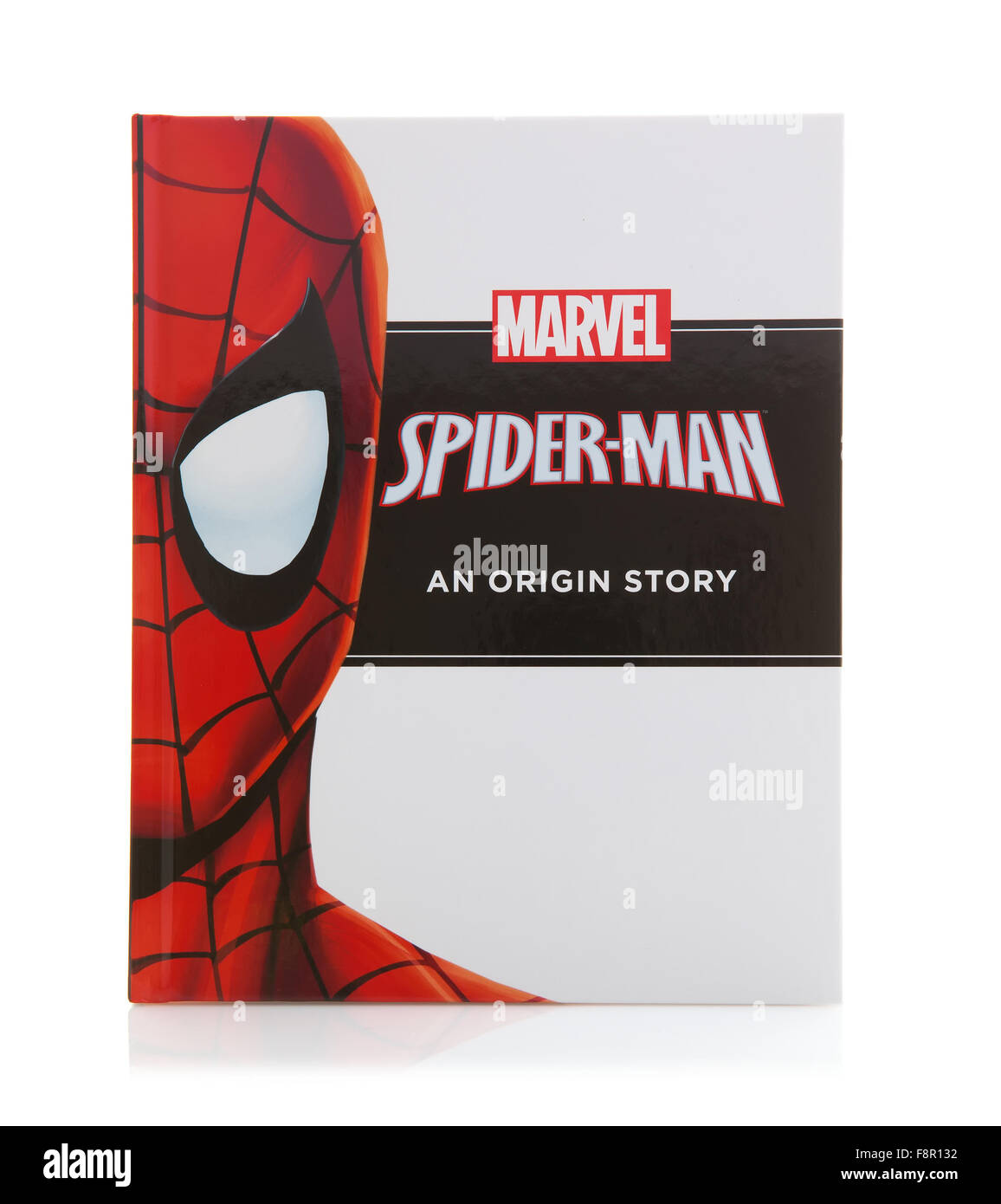 MARVEL Book Spider-man an Origin Super Hero Story on a White Background - Stock Image