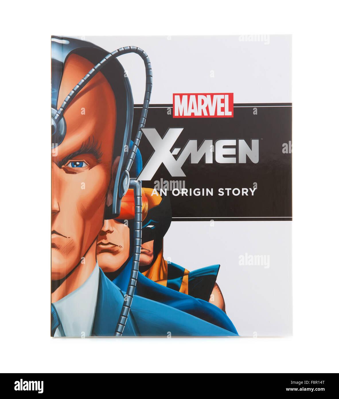 MARVEL Book X-MEN an Origin Super Hero Story on a White Background - Stock Image