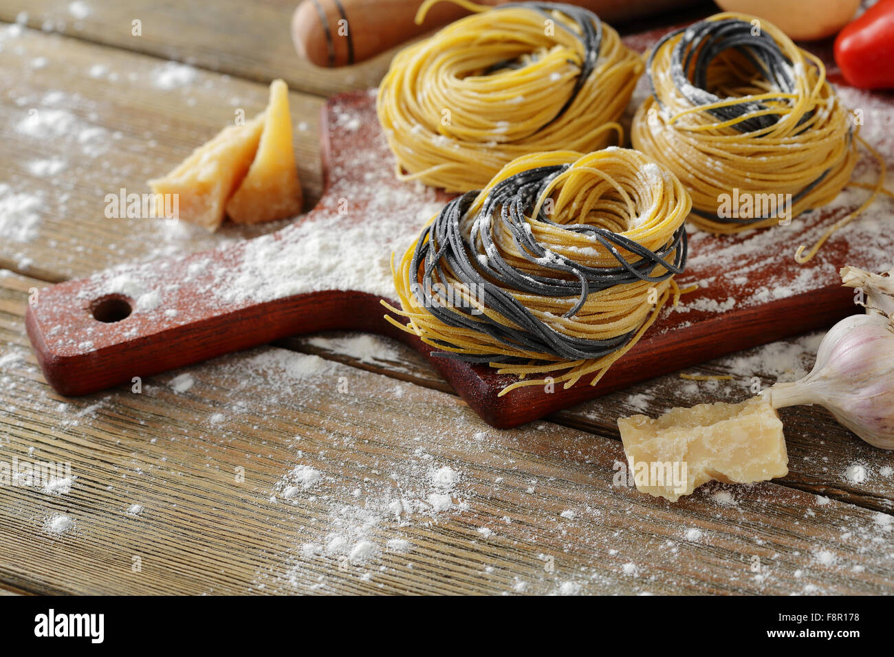 pasta with cheese closeup - Stock Image