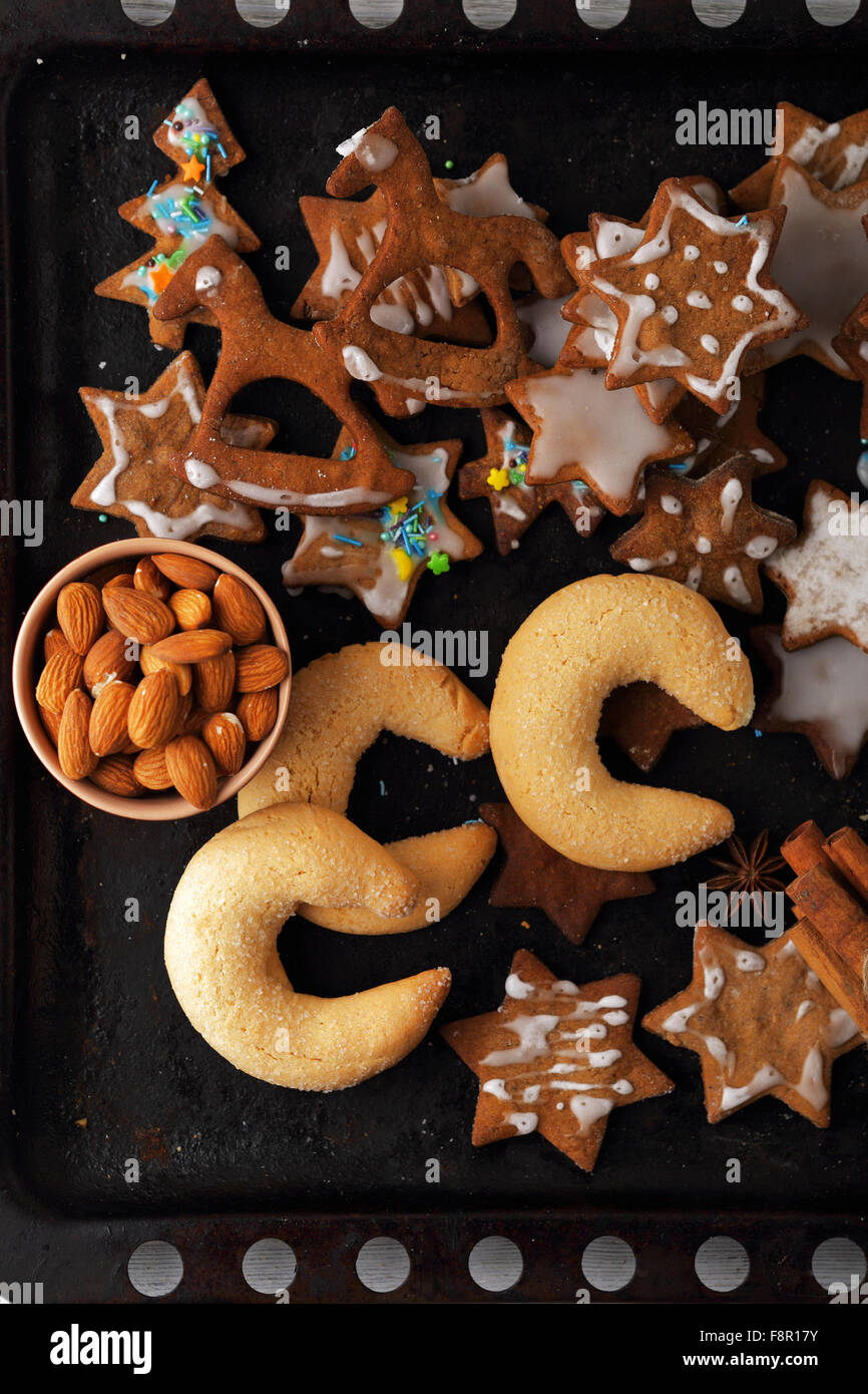 holidays sweet christmas cookies, top view - Stock Image