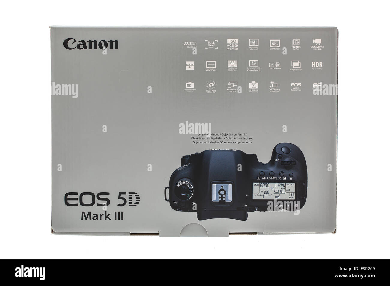 Canon 5D Mark III DSLR Camera in Unopened Box on a White background - Stock Image
