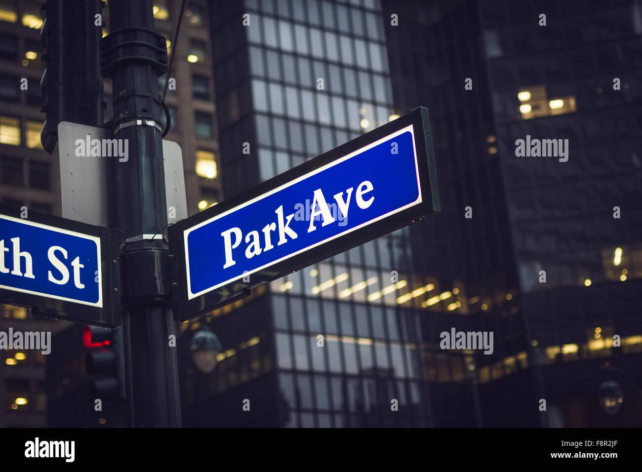 New York City - September 25: Manhattan park ave sign, on 25 September 2015. Stock Photo