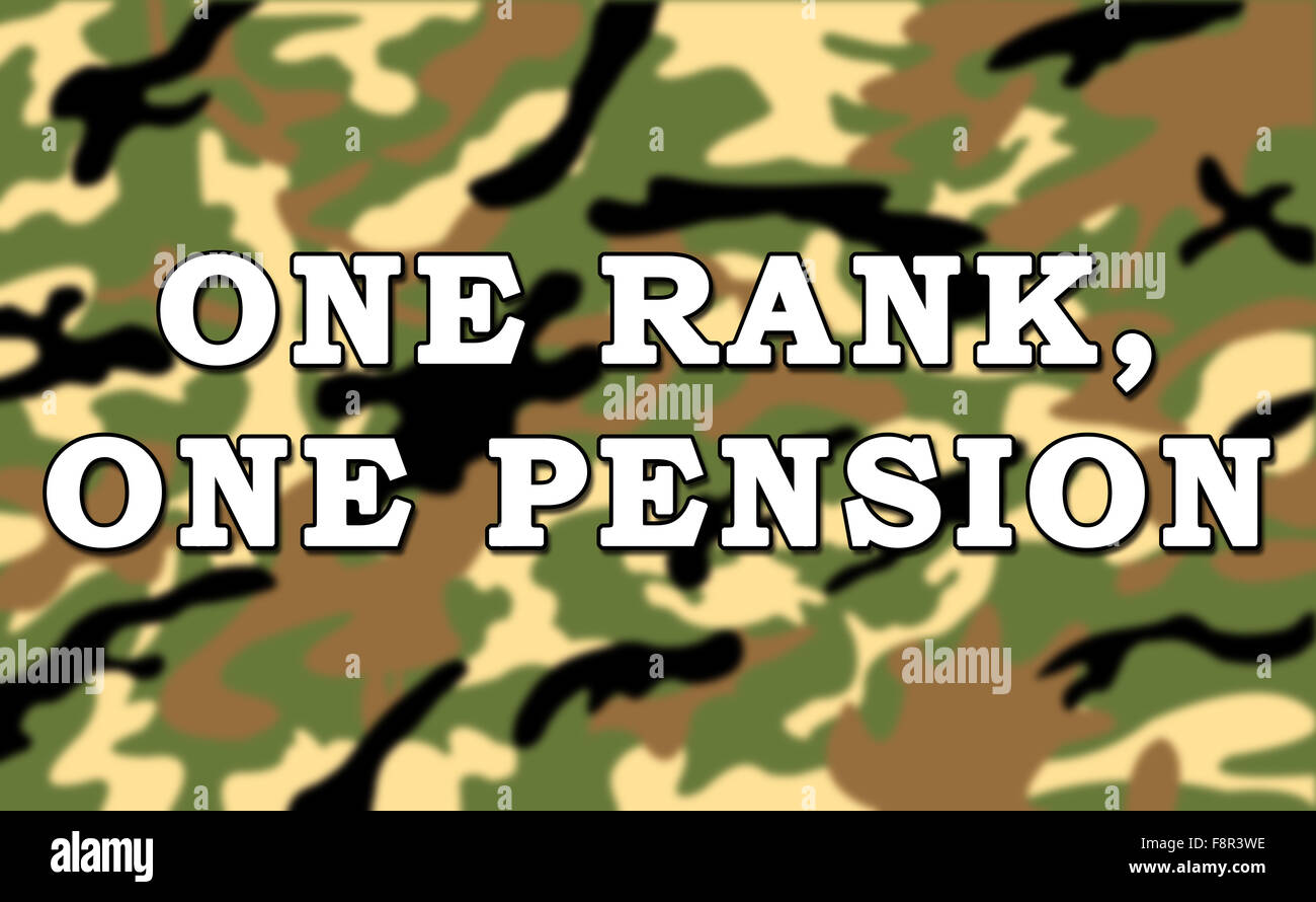 One Rank One Pension Message on ArmyMilitary Camouflage Pattern Background - Stock Image