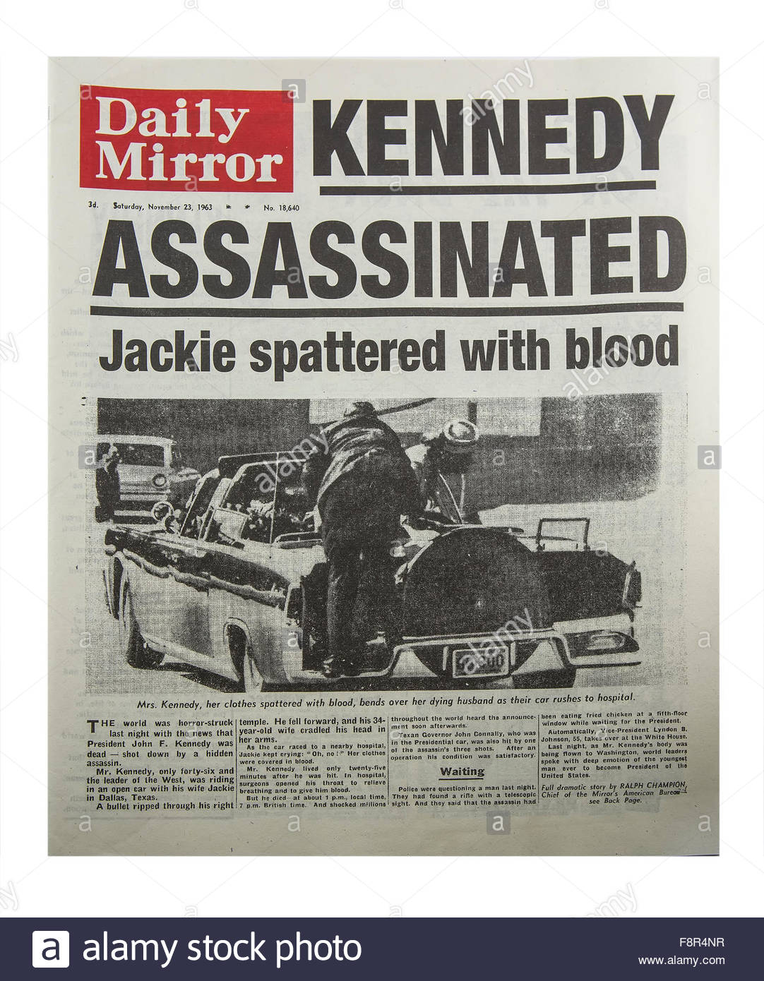 Kennedy Assassinated - 1963 Daily Mirror newspaper of the murder of president John F. Kennedy - Stock Image