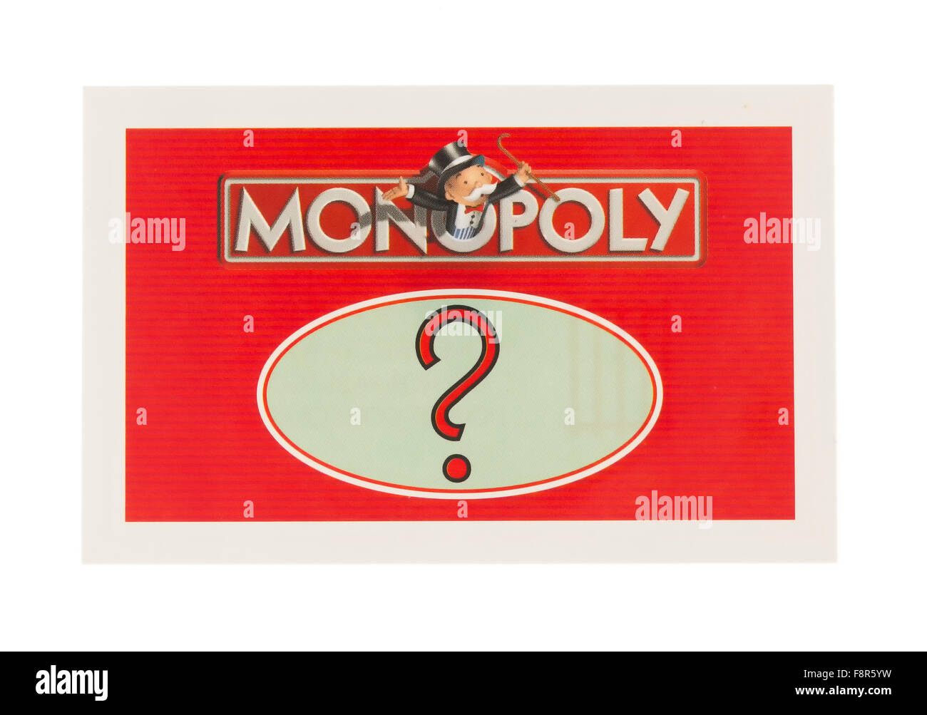 English Edition of Monopoly showing A Chance Card,  The classic trading game from Parker Brothers - Stock Image
