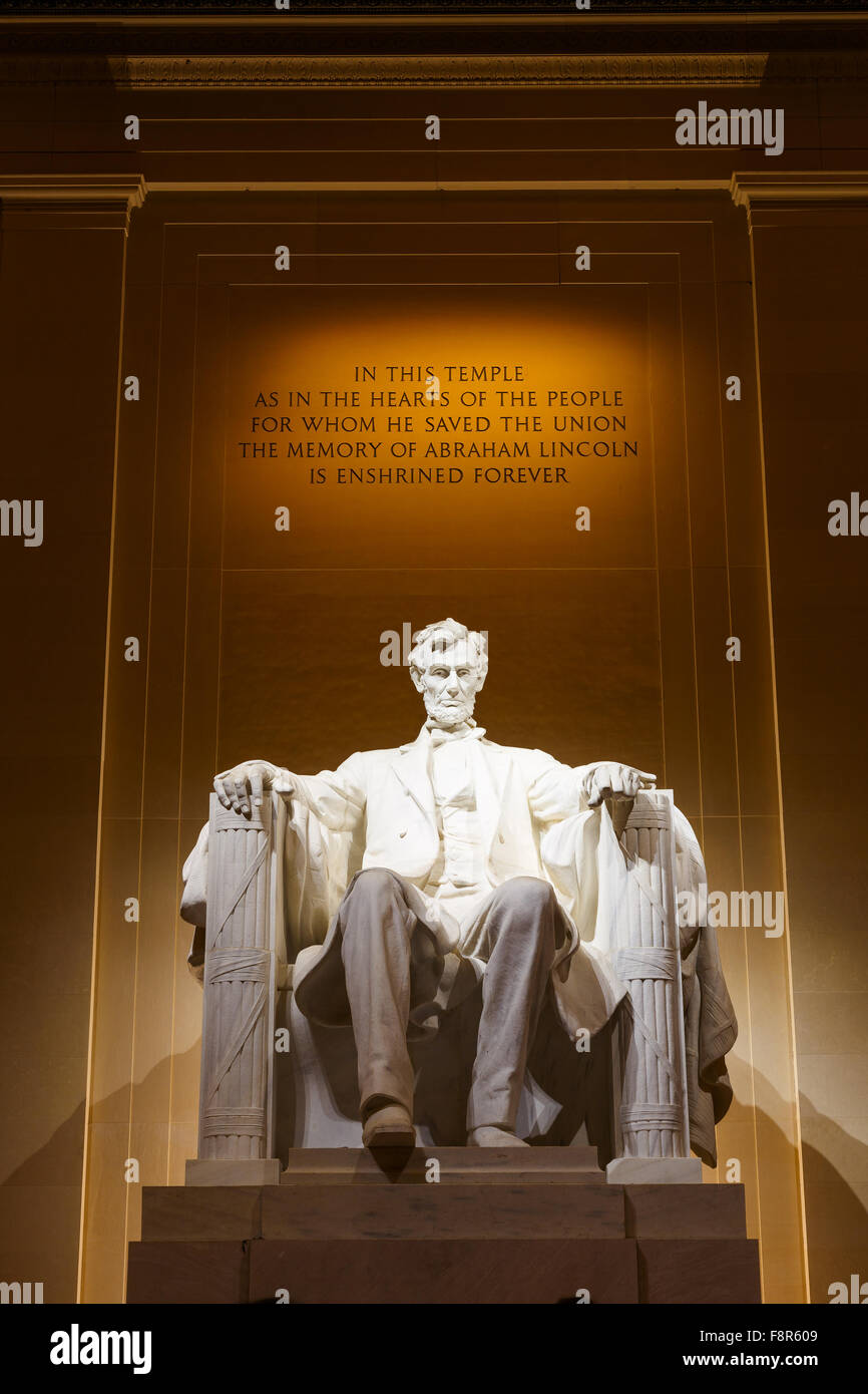 Lincoln Memorial illuminated at night in Washington DC - Stock Image