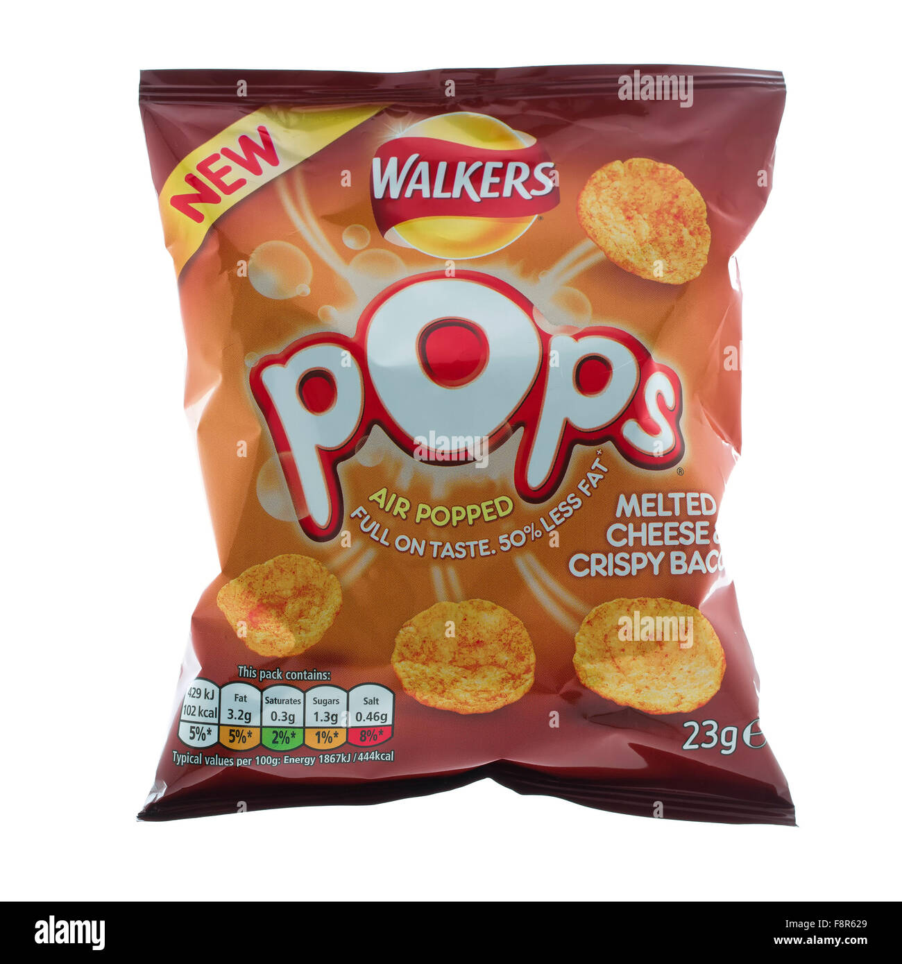 Packet of Walkers Pops Melted Chesse & Crispy Bacon on a White background - Stock Image