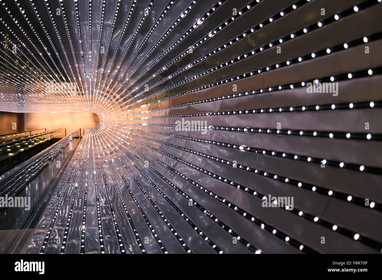 National Gallery of Art Moving Walkway and Multiverse Light Sculpture - Stock Image