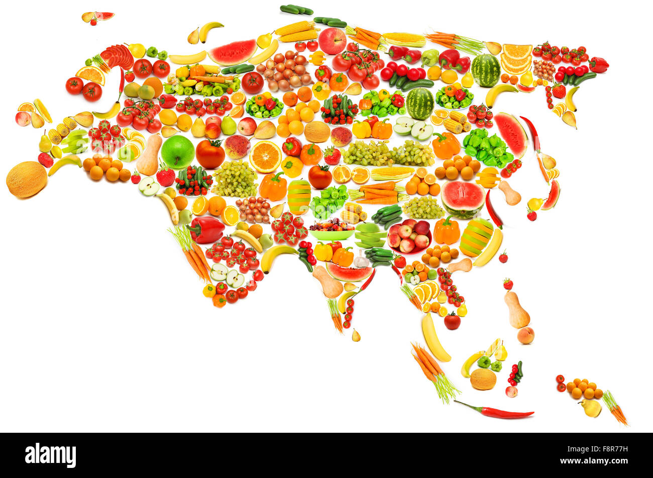 World map made of many fruits and vegetables - Stock Image