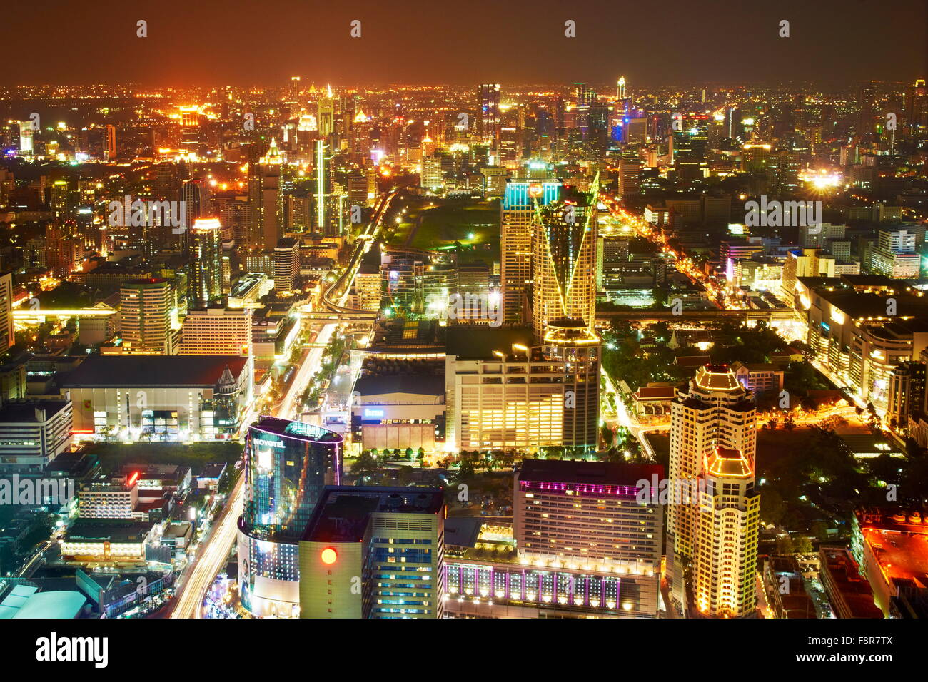 Thailand - Bangkok, aerial cityscape view from Bayoke Sky Tower - Stock Image