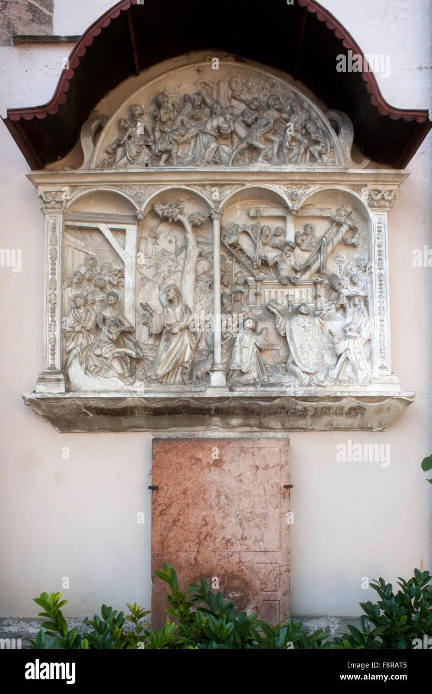 ÷sterreich, Niederˆsterreich, Waidhofen an der Ybbs, Steinrelief an der Stadtpfarrkirche Stock Photo