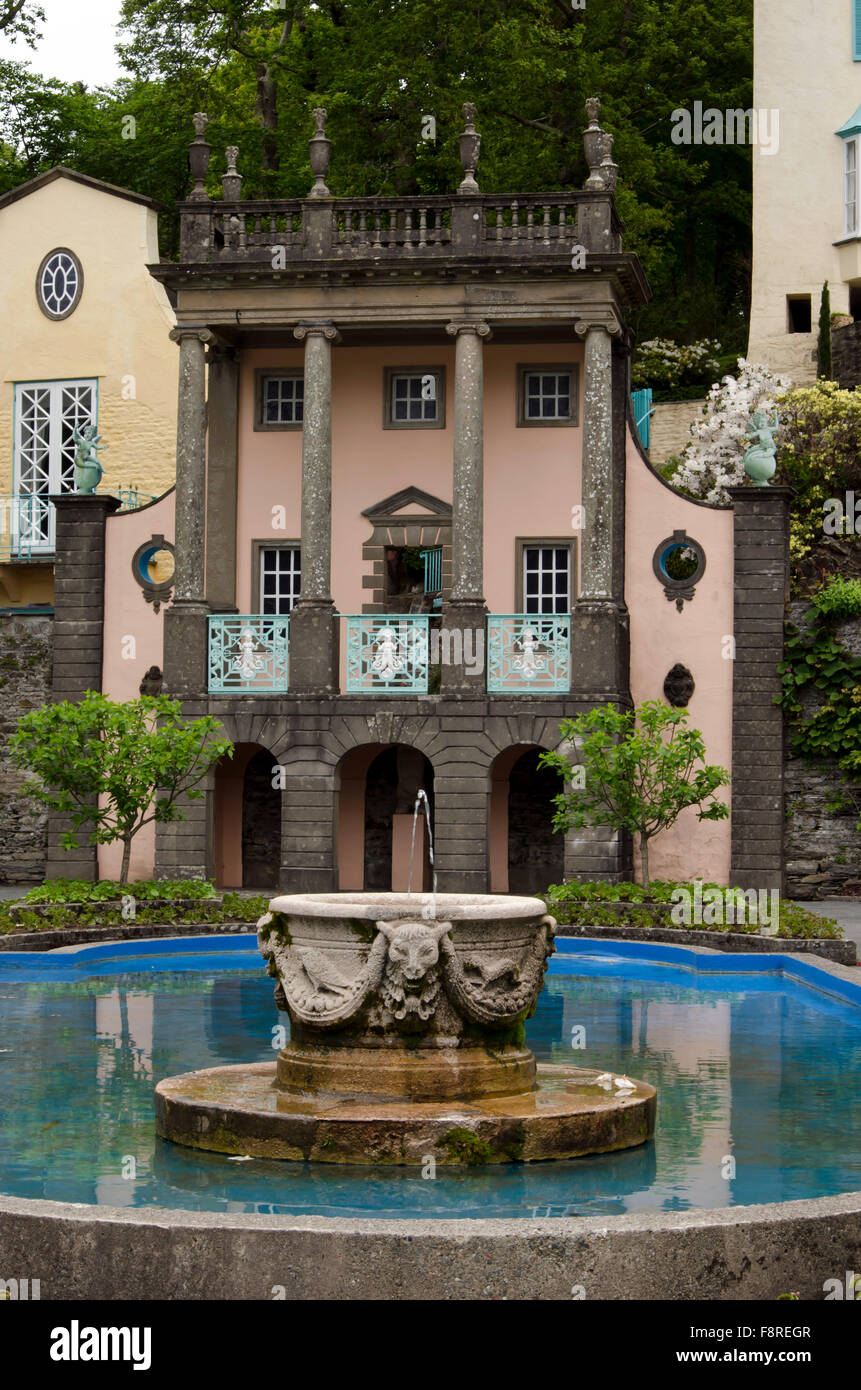 The pond and balcony at Portmeirion, the village in North Wales that featured as 'The Village' in 'The - Stock Image