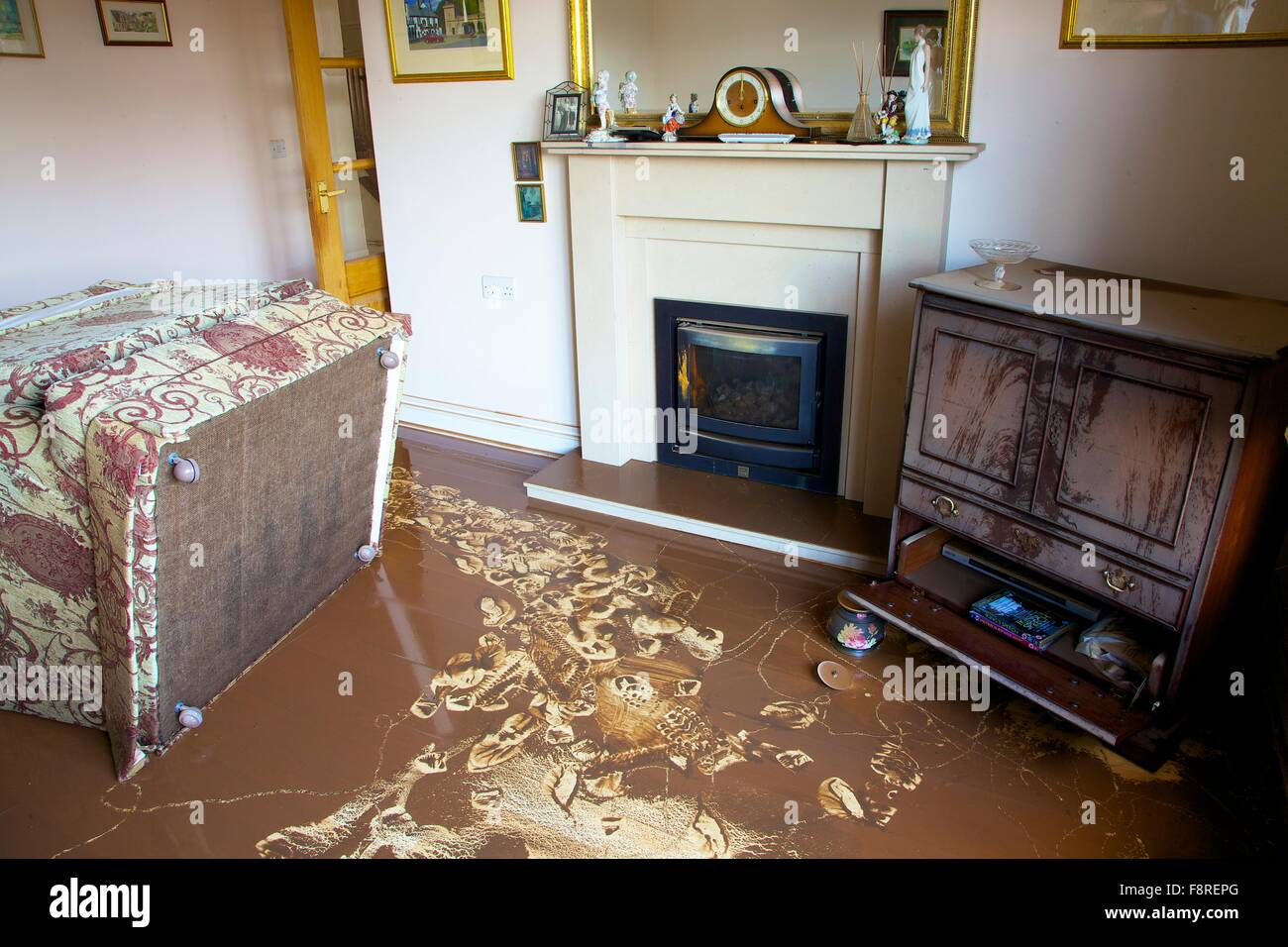 Carlisle Floods. December 2015. Flood damaged furniture in a house. Storm Desmond caused severe flooding in Carlisle. - Stock Image