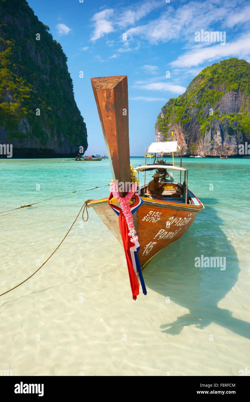 Thailand beach - Phang Nga, Maya Bay on Phi Phi Leh Island, Asia - Stock Image