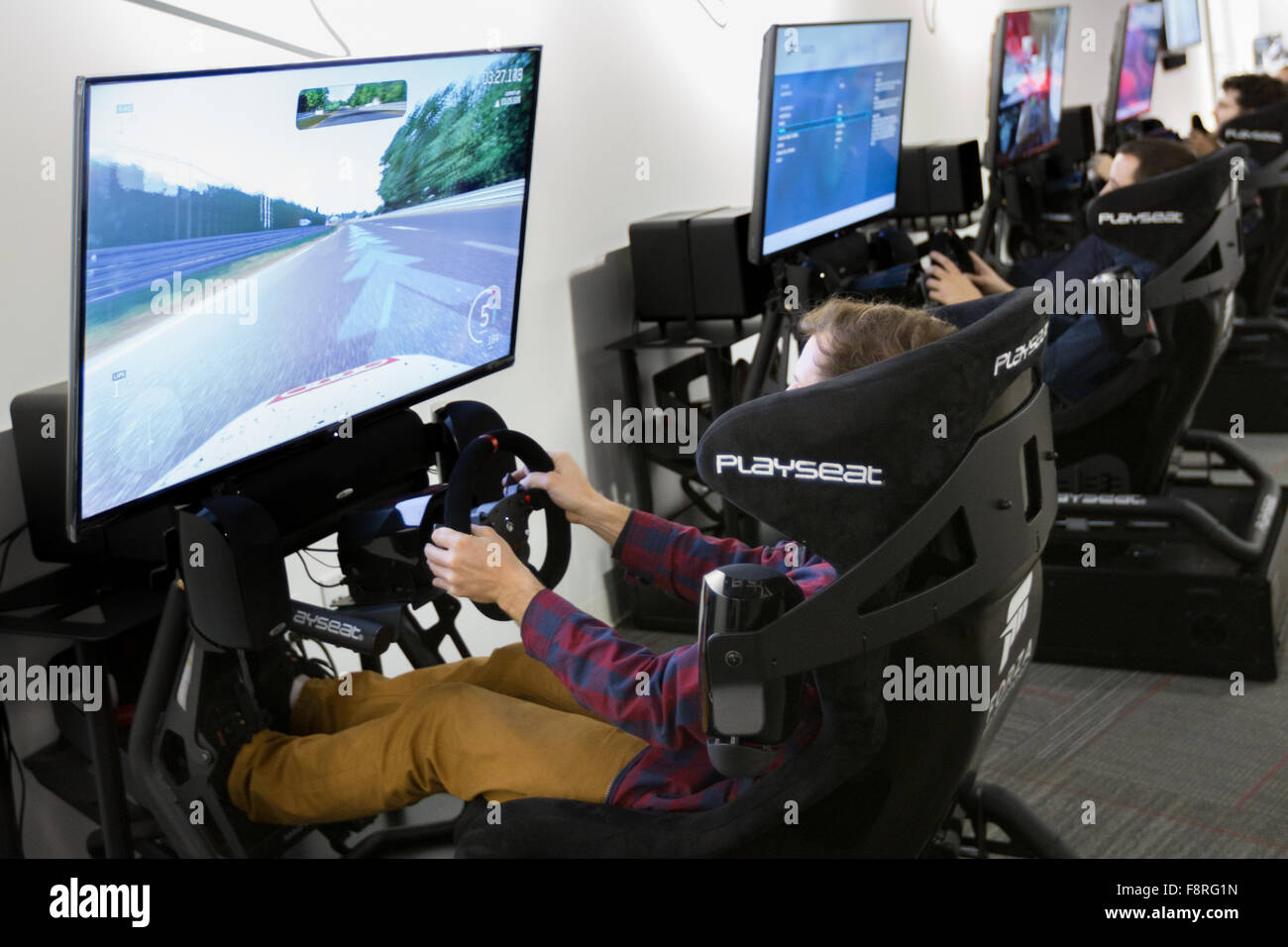 The Forza Motorsport Racing Experience at the Petersen Automotive Museum, Los Angeles, CA, USA - Stock Image